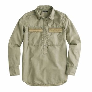J.Crew Military Green Beaded Chevron Popover Shirt